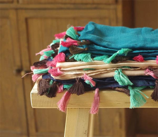colorful viscose cotton like scarves with fringes