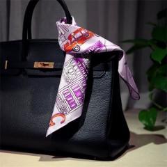 delicate pure silk square bag scarf
