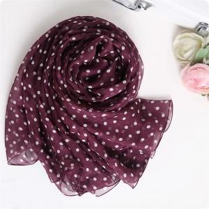 polka dot printed silk chiffon long stole shawl