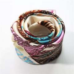 printed 90cm square silk charmeuse satin scarf