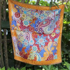 paisley screen printed small silk neck scarf