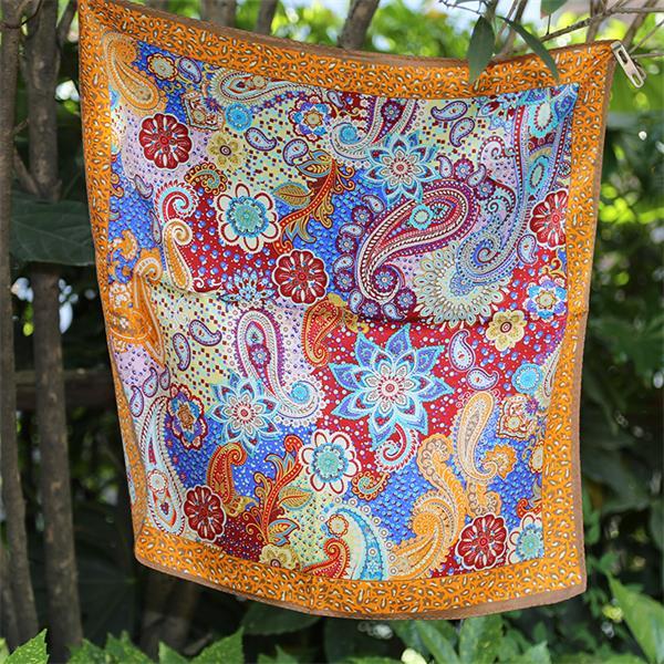 paisley screen printed small silk neck scarf