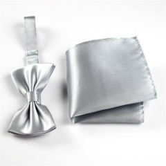 silk pocket hanky and silk bow tie set