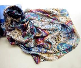 oblong silk pongee printed scarf