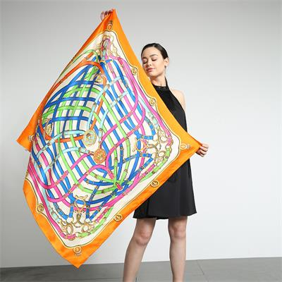big silk scarf 110×110cm printed