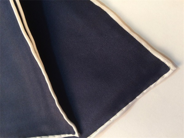 Solid Color Navy Silk Twill Mens Pocket Squares