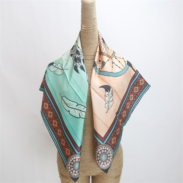 90cm scarf of twill silk base digital printed (2)