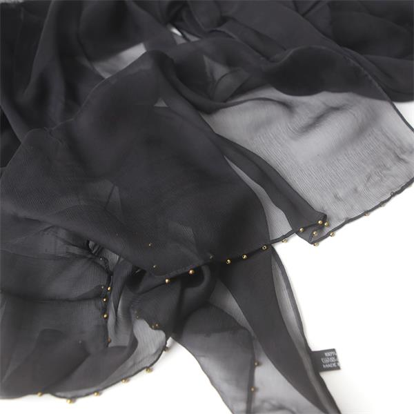 Black Beaded Silk Chiffon Crinkle Scarf (1)