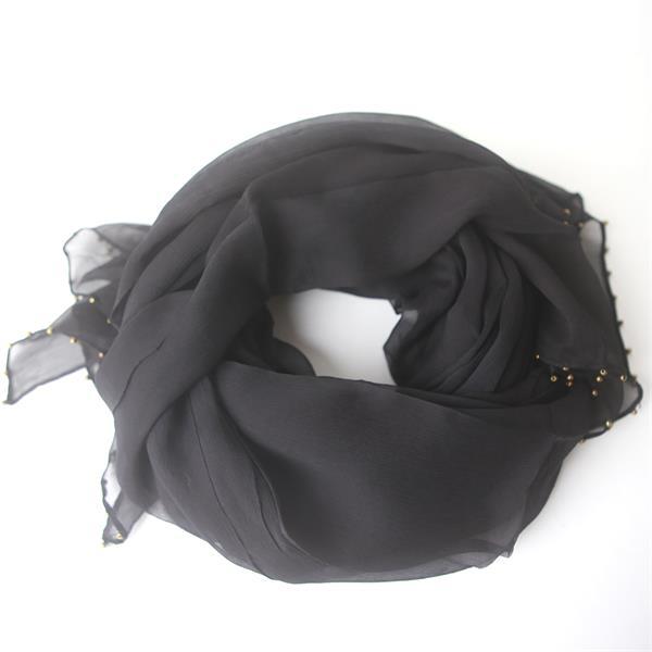 Black Beaded Silk Chiffon Crinkle Scarf (2)
