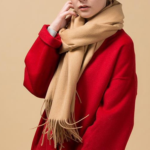 Camel Color Thermal Large Cashmere Scarf Shawl (1)