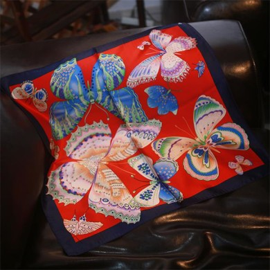Italian pure silk scarf butterfly printed (2)