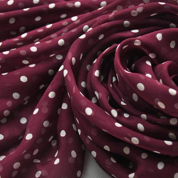 Polka dot silk scarf of silk chiffon fabric (2)