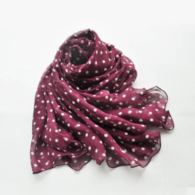 Polka dot silk scarf of silk chiffon fabric (3)