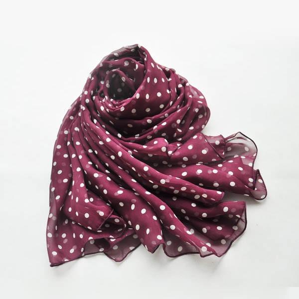 Polka dot silk scarf of silk chiffon fabric (3)