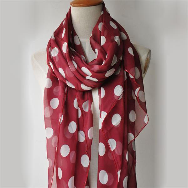 Polka dot silk scarf of silk chiffon fabric (4)