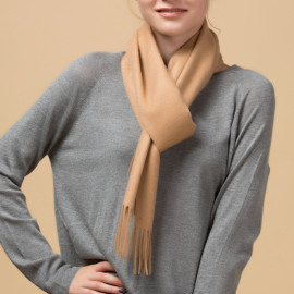 Solid Dyed Wool Cashmere Scarf Comforter for Women (2)