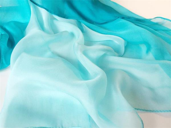 Two Tone Gradient Turquoise Silk Scarf (3)