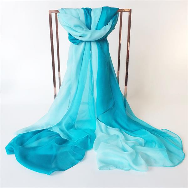 Two Tone Gradient Turquoise Silk Scarf (4)