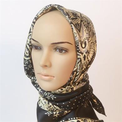 antique paisley design promotional cheap square silk scarves (2)