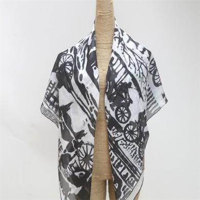 black and white silk square chiffon scarf (1)