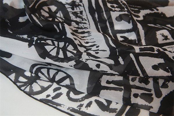black and white silk square chiffon scarf (2)