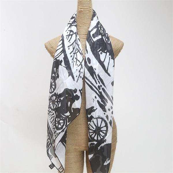 black and white silk square chiffon scarf (3)