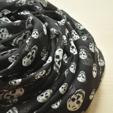 black skull print silk scarf (2)