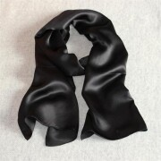Black Solid Silk Scarves Swimsuit Cover Up