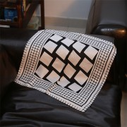 Business Gifts Black White Check Scarf of 100 Silk Habotai