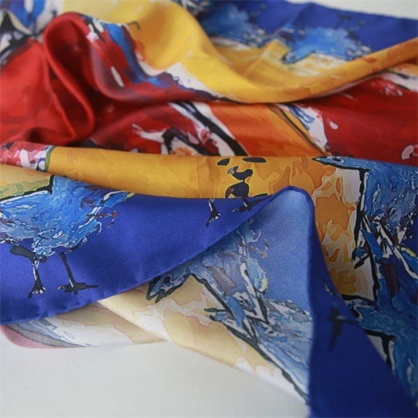 cat print colorful silk scarves (1)