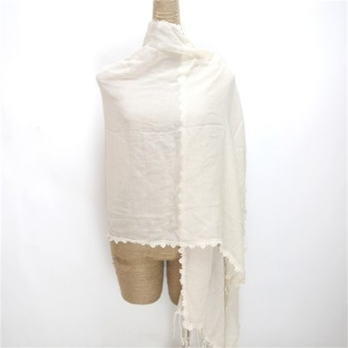 cotton neck scarf trimmed with lace (2)