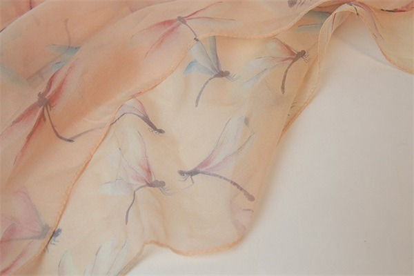 dragonfly digital printed silk chiffon scarf shawl (1)