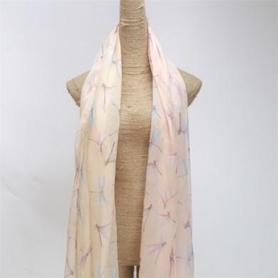 dragonfly digital printed silk chiffon scarf shawl (3)