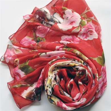floral print silk scarf (3)