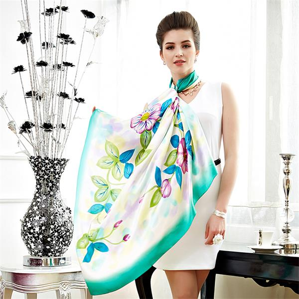 flower hand painted silk scarves (1)