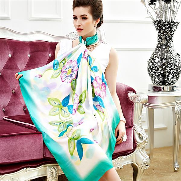 flower hand painted silk scarves (4)