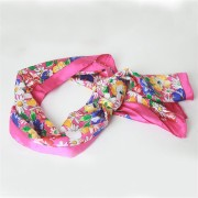 Flower Screen Printed Twill Silk Scarf Belt
