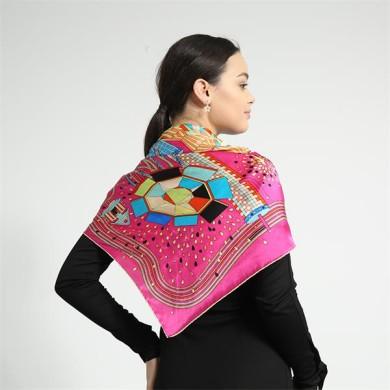hand printed ladies silk square scarves (1)