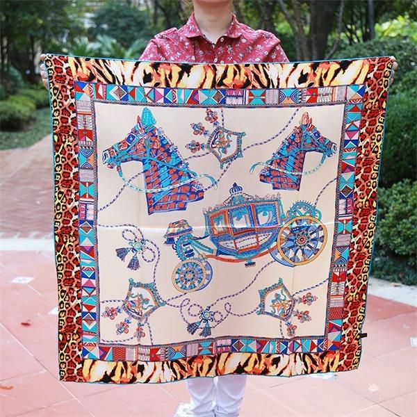 horse silk scarf 90cm 90cm (2)