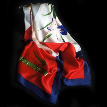 Flower Printed Ladies Satin Silk Shawls