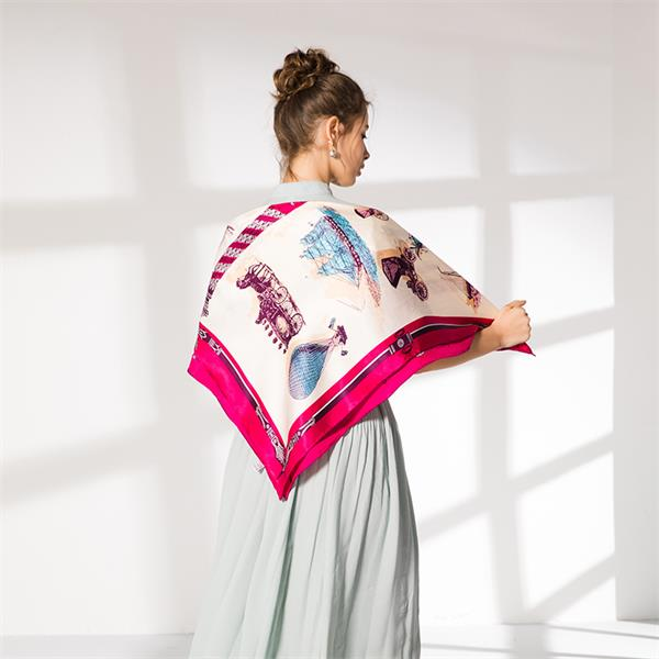 large 110cm square silk foulard scarf (1)