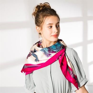 large 110cm square silk foulard scarf (2)