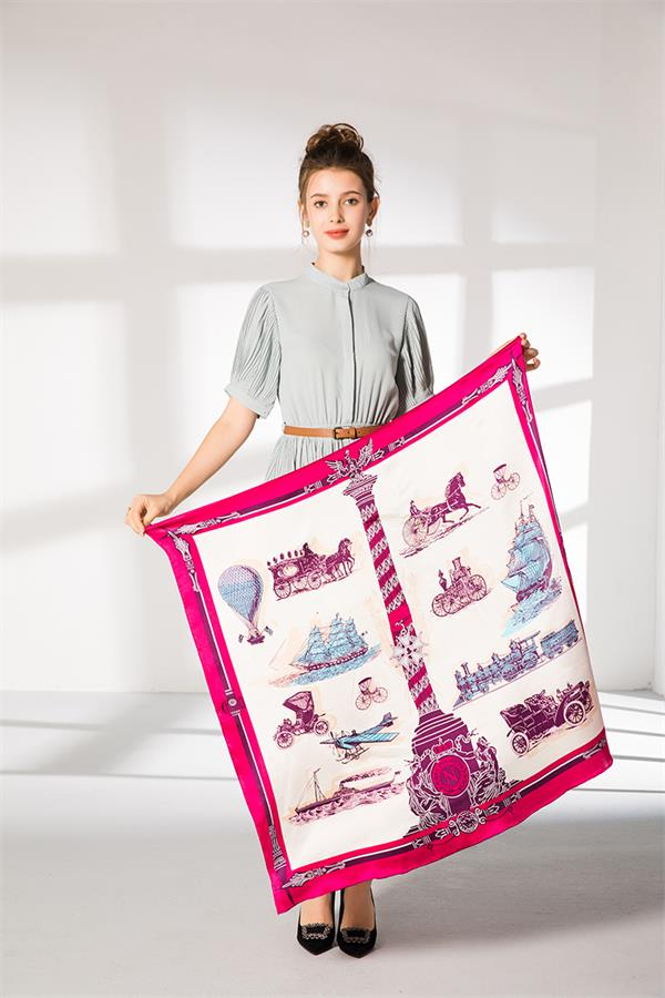 large 110cm square silk foulard scarf (3)