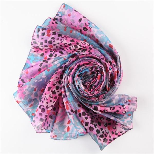 leopard print silk scarf (1)