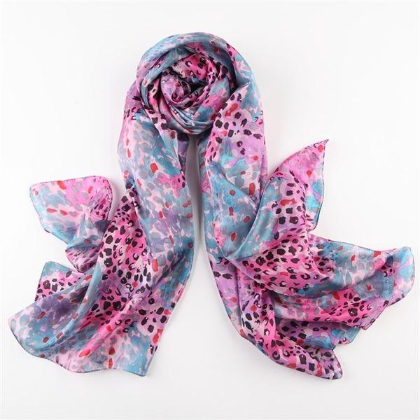 leopard print silk scarf (3)