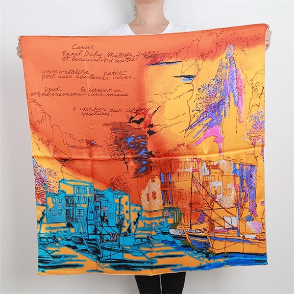 orange silk square head scarves (2)