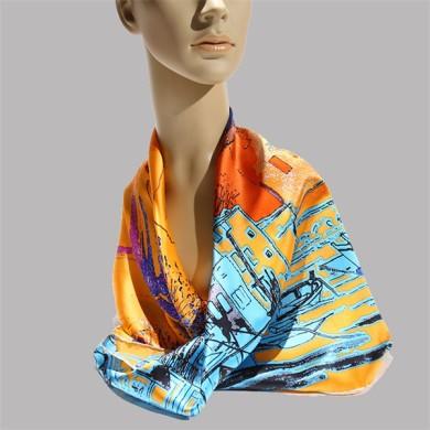 orange silk square head scarves (3)