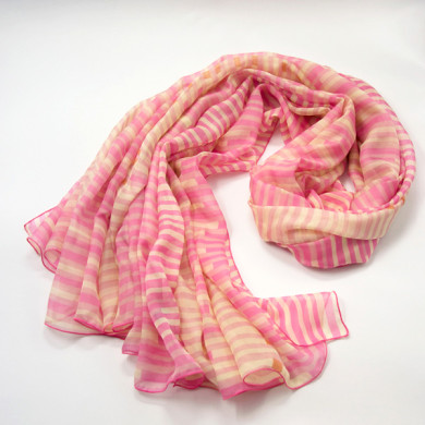 pink striped silk scarf (2)