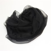 Silk Polyester Mix Plain Black Silk Scarf