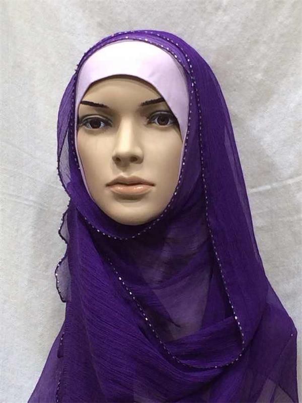 plain color beaded crinkle silk scarves (4)